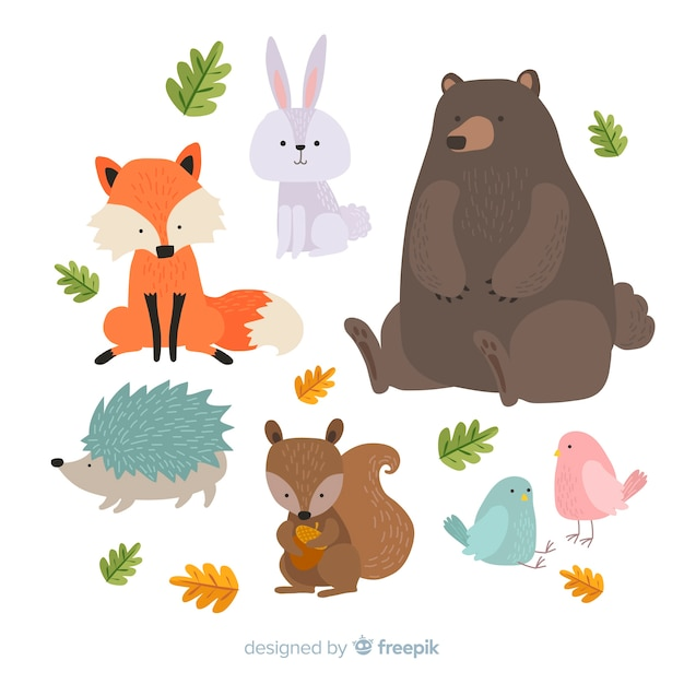 Cute animal collection with big bear Free Vector