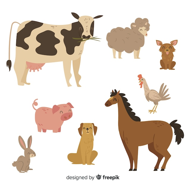 Cute animal collection with cow Free Vector