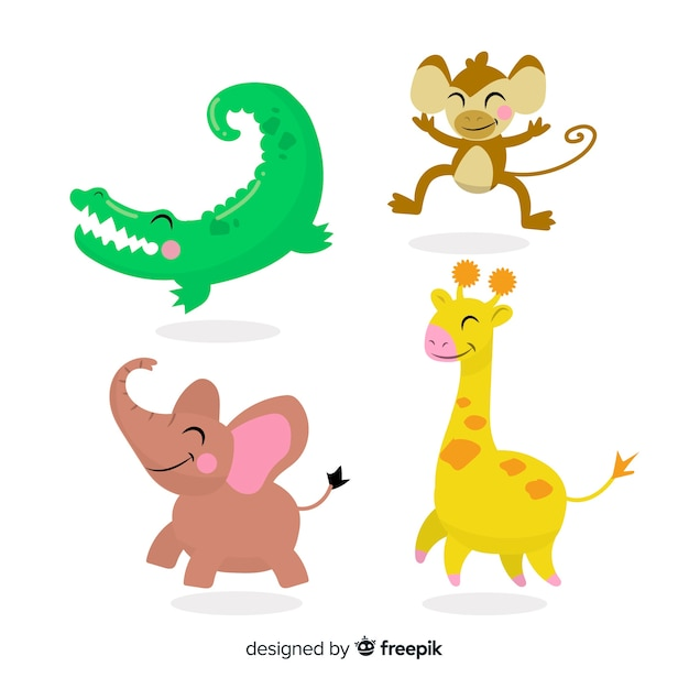 Cute animal collection with crocodile Free Vector