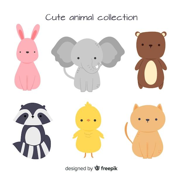 Коллекция милых животных со слоном Бесплатные векторы
