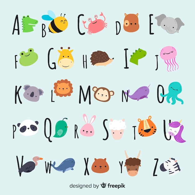 Cute animal collection with faces Free Vector
