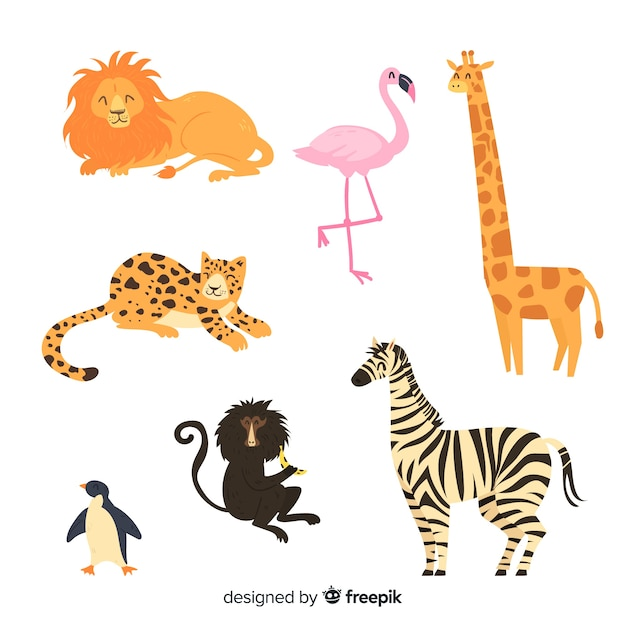 Cute animal collection with flamingo Free Vector
