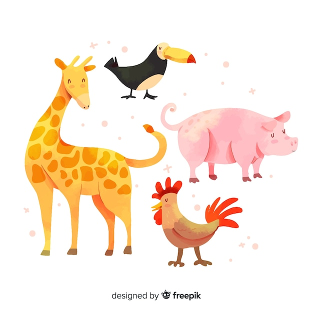 Cute animal collection with giraffe Free Vector