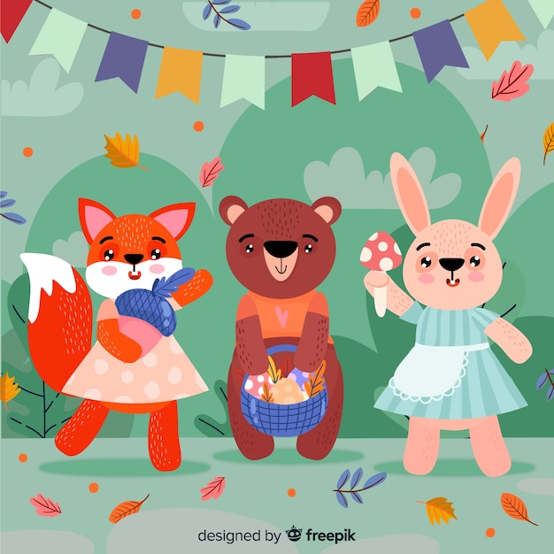 Cute animal collection with leaves and garland Free Vector