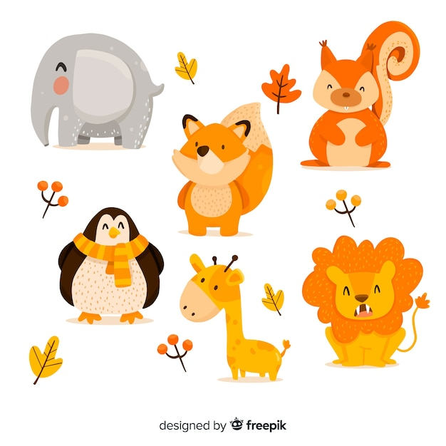 Cute animal collection with leaves Free Vector