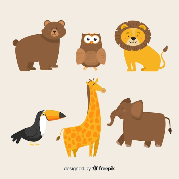 Cute animal collection with lion Free Vector