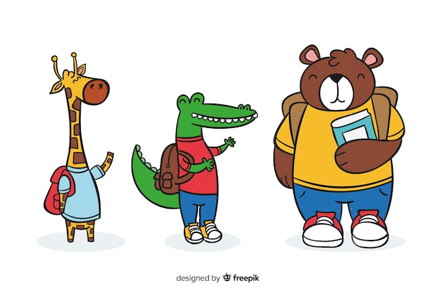 Cute animal collection with school supplies Free Vector