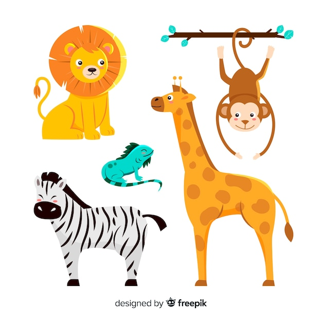 Cute animal collection with zebra Free Vector