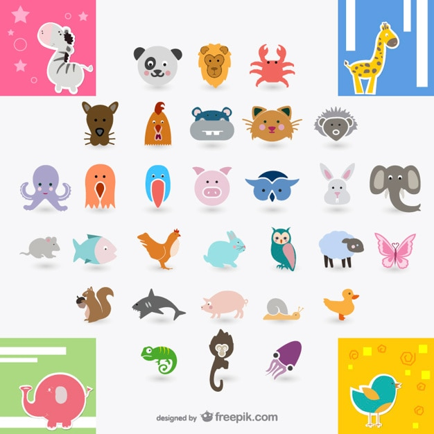 Cute animal collection Free Vector