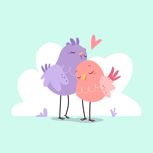 Cute animal couple collection Free Vector