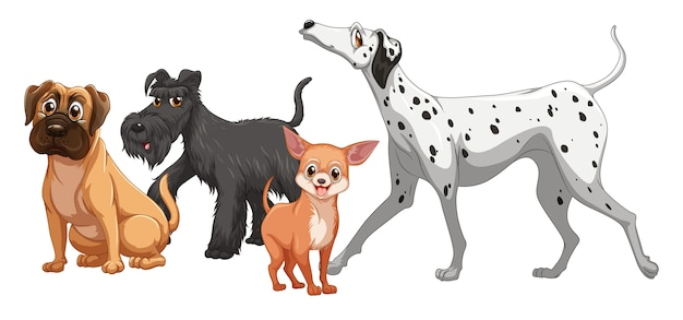 Cute animal dog group isolated Free Vector