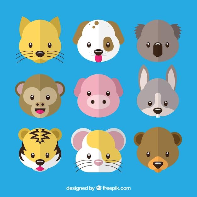 Cute animal emoticon pack Free Vector