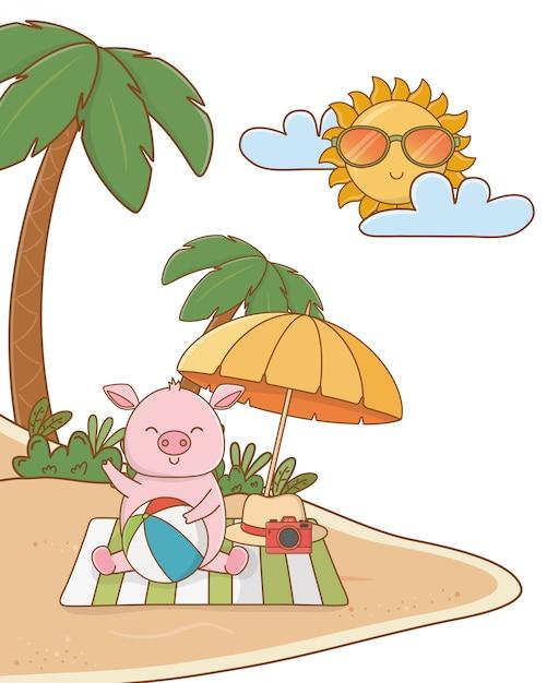 Cute animal enjoying summer time cartoon Premium Vector