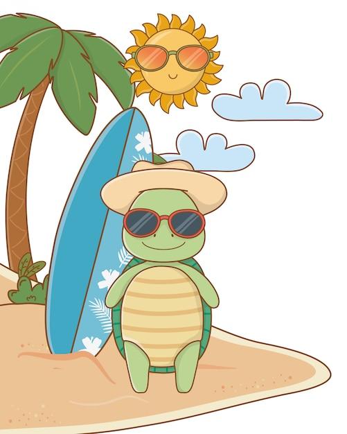 Cute animal enjoying summer vacations Free Vector
