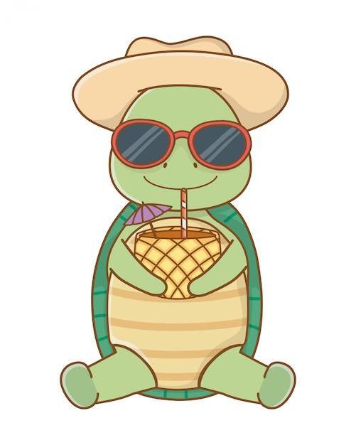Cute animal enjoying summer vacations Premium Vector