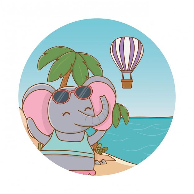 Милое животное наслаждается летними каникулами Premium векторы
