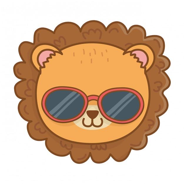 Cute animal face cartoon Free Vector