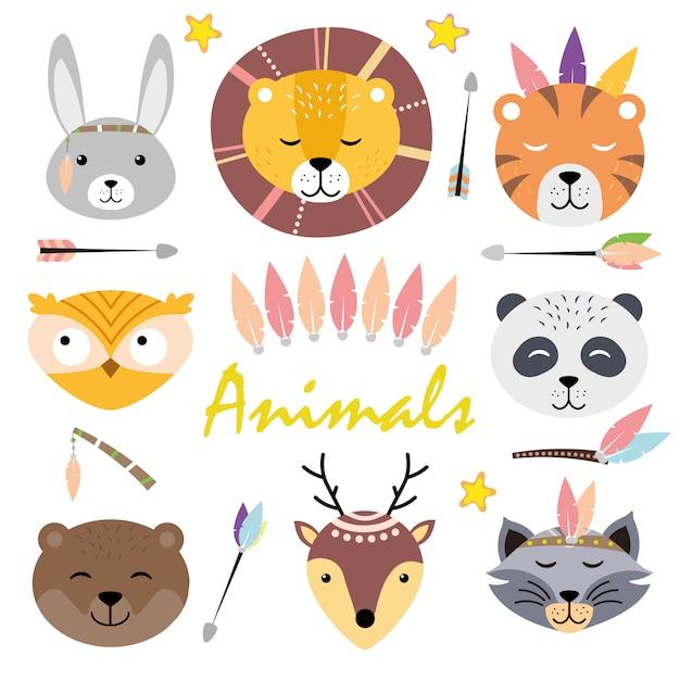 Милые животные лица. рисованные персонажи заяц, лев, тигр, панда, сова, медведь, енот, олень Premium векторы