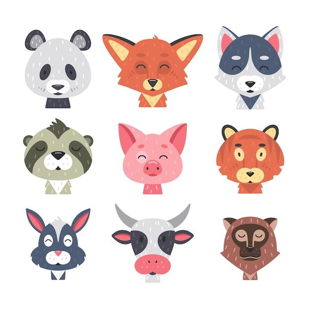 귀여운 동물 얼굴 세트. 손으로 그린 동물 캐릭터. 여우, 팬더, 토끼, 호랑이, 돼지, 늑대, 소, 원숭이, 나무 늘보. 포유류 아이들. 프리미엄 벡터