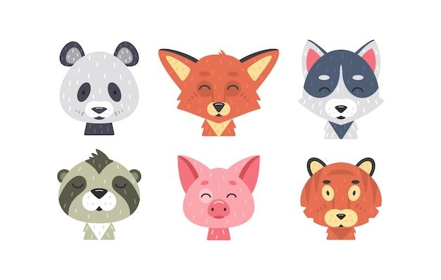 귀여운 동물 얼굴 세트. 손으로 그린 동물 캐릭터. 여우, 팬더, 호랑이, 돼지, 늑대, 나무 늘보. 포유류 아이들. 프리미엄 벡터
