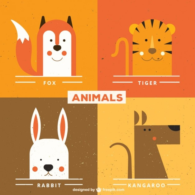 Cute animal faces Free Vector