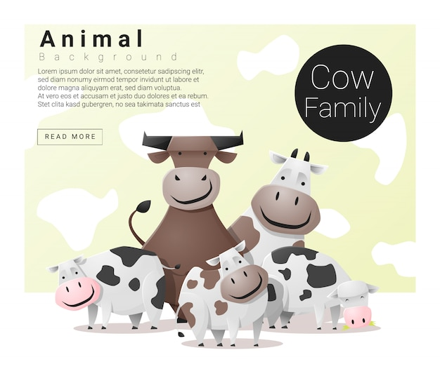 Cute animal family background with cows Premium Vector