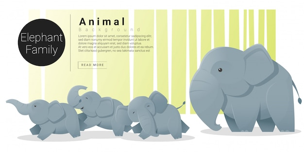 Cute animal family background with elephants Premium Vector