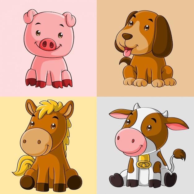 Cute animal farm cartoon, hand drawn, set collection Premium Vector