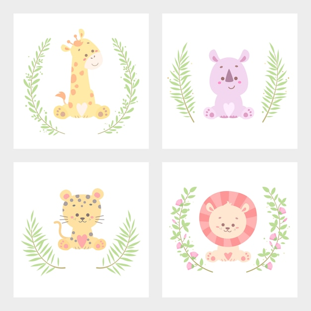 Cute animal flower card vector illustration isolated Premium Vector