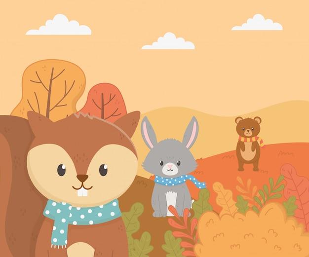 Милая листва животных привет осень Premium векторы