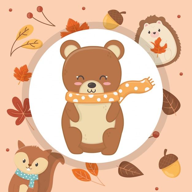 Cute animal foliage hello autumn Premium Vector