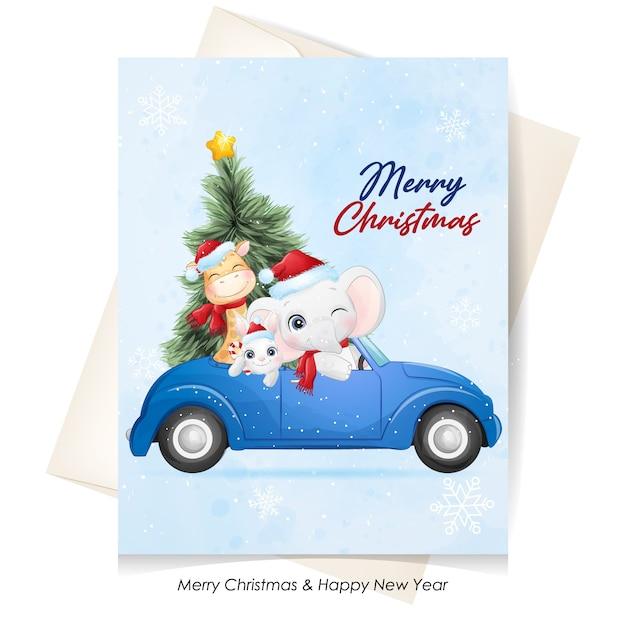 水彩イラストでクリスマスのためのかわいい動物 Premiumベクター