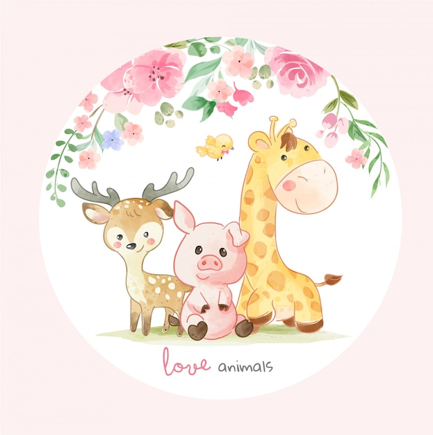 Cute animal friends and colorful flowers illustration in cirlce shape Premium Vector