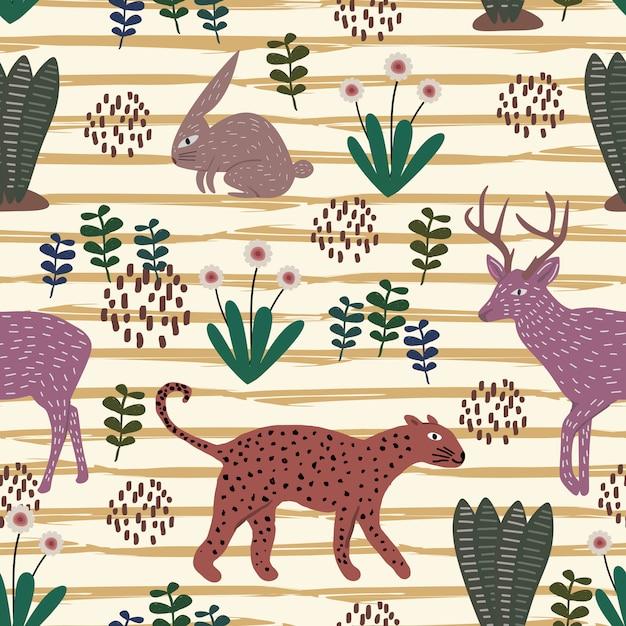 Cute animal hand drawn pattern with seamless colorful cheetah, rabbit, and moose deer Premium Vector