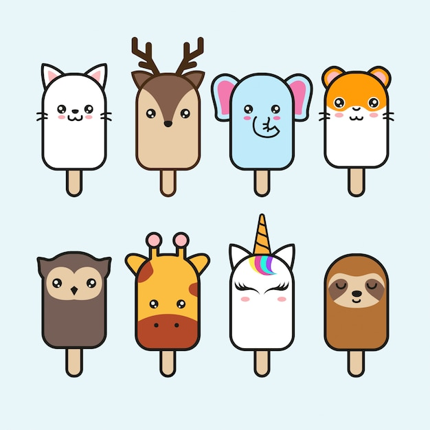 Cute animal ice cream vector set Premium Vector