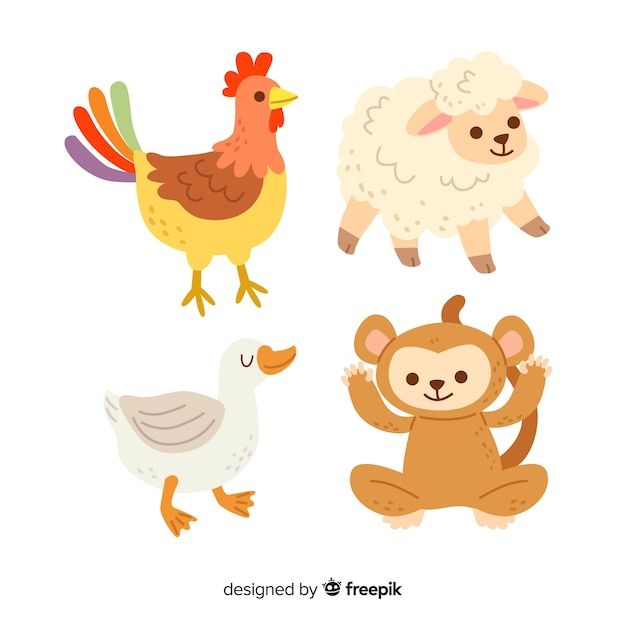 Cute animal illustrations collection Free Vector