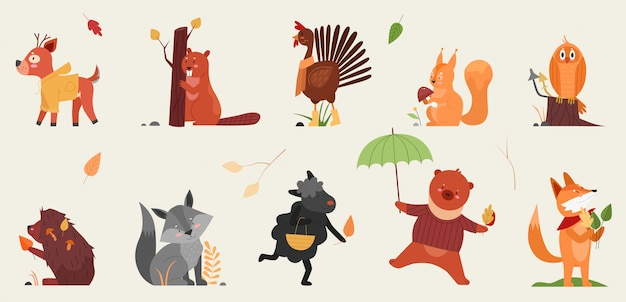 秋のイラストセットでかわいい動物。漫画の手描き秋の森コレクション秋の季節のシンボルを保持している変な動物、鹿ビーバーオンドリハリネズミリスフクロウキツネヒツジクマ Premiumベクター