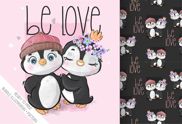 Cute animal lovely baby penguin seamless pattern. cute cartoon animal. Premium Vector
