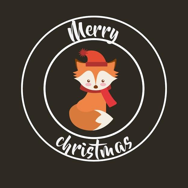 Cute animal merry christmas isolated icon Premium Vector