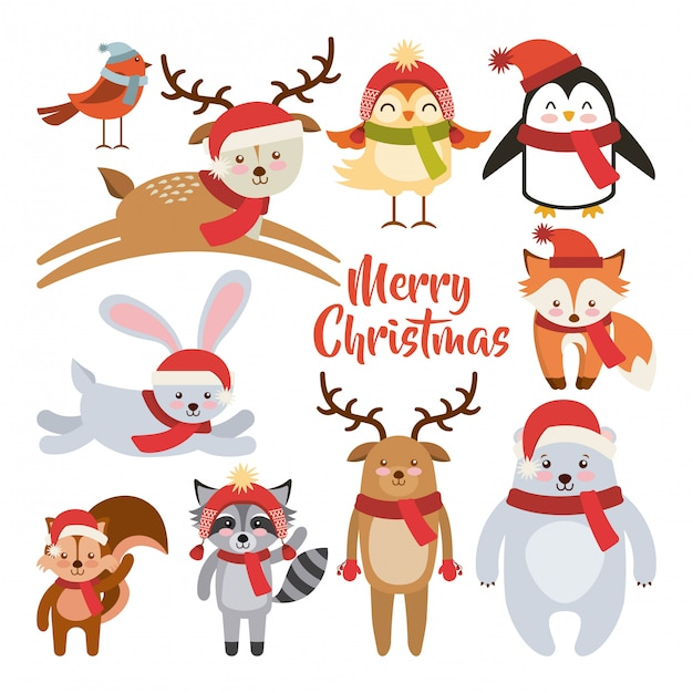 Cute animal merry christmas isolated icon Premium Vector