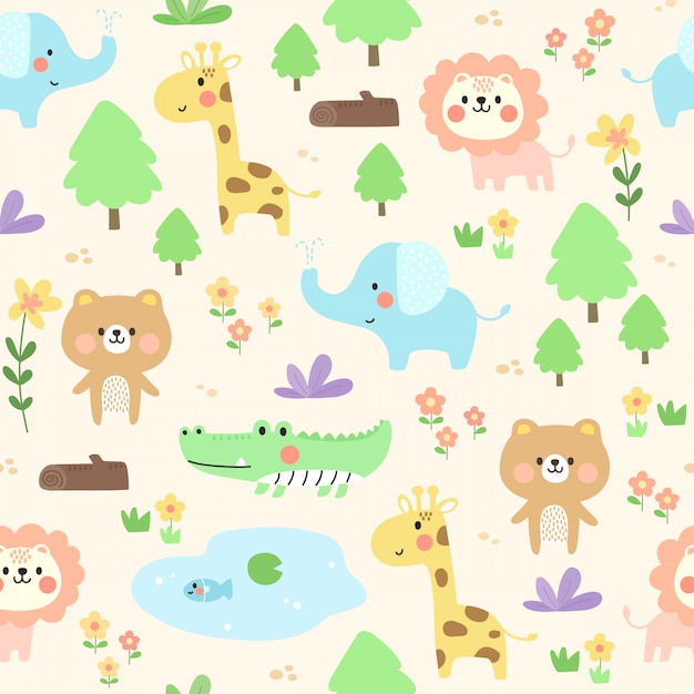 Cute animal pattern background. Premium Vector