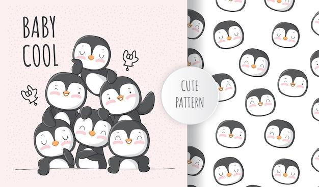 친구 패턴 세트와 함께 귀여운 동물 펭귄 프리미엄 벡터