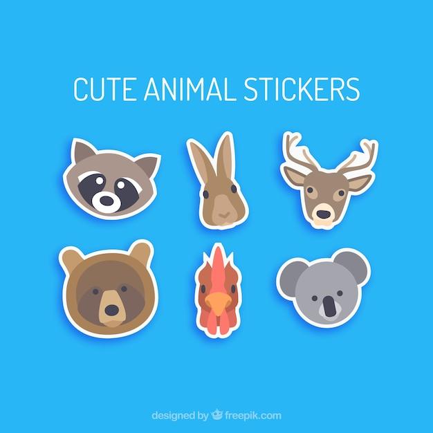 Adesivi ritratto cute animali Vettore gratuito