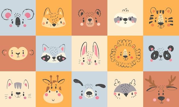 Симпатичные портреты животных. нарисованные рукой счастливые лица животных, улыбающийся медведь, забавная лиса и набор иллюстраций шаржа коалы. Premium векторы