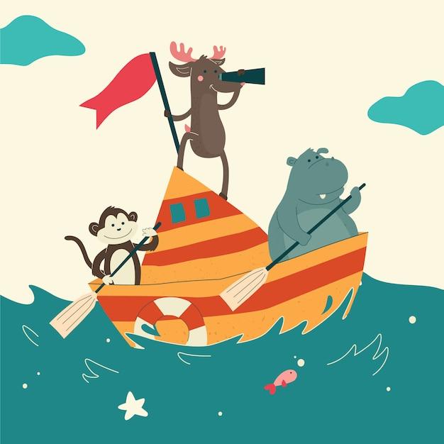 海でかわいい動物のセーリングボート Premiumベクター