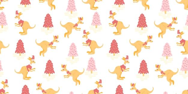 Cute animal seamless pattern christmas winter theme Premium Vector