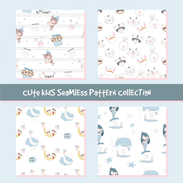 Cute animal seamless pattern collection Premium Vector