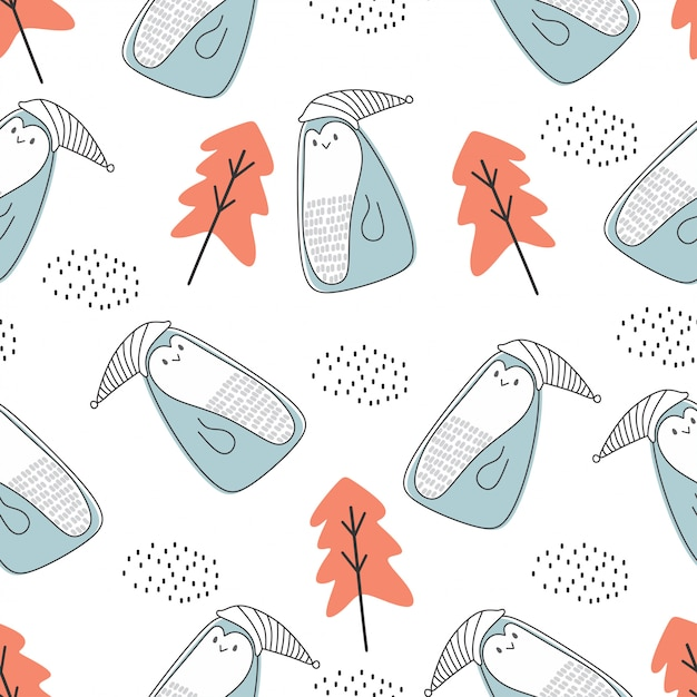 Cute animal seamless pattern with polar bear and penguin nordic style Premium Vector