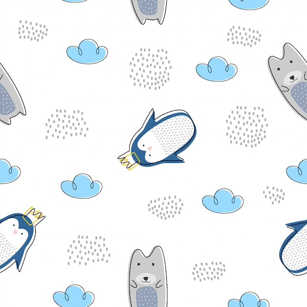 Cute animal seamless pattern with polar bear and penguin scandinavian drawing Premium Vector