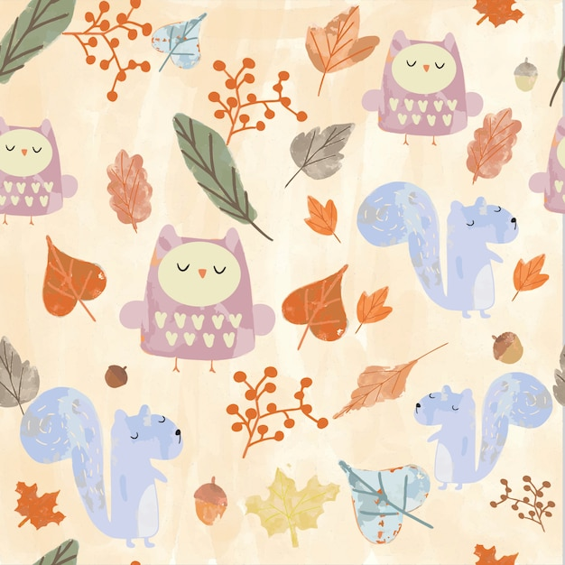 Cute animal seamless pattern Premium Vector